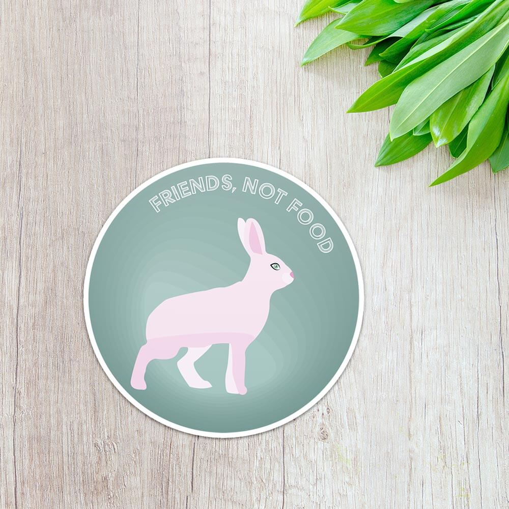 "sticker représentant un lapin // ""Friends, not food"" par Jade De Vecchis, webdesigner / graphiste multimedia"